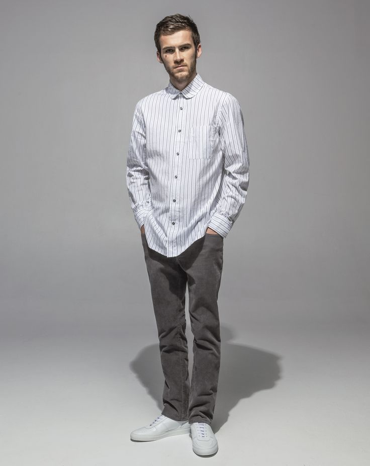 Japanese Crushed Poplin Club Collar Shirt (Grey Stripe) 16 Wale Cord Slim Fit Stretch (Cement)