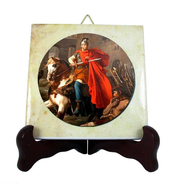 Saint #Martin of #Tours #religious icon on ceramic tile handmade in Italy #pray #faith #devotion #saints http://etsy.me/2v0TbD3