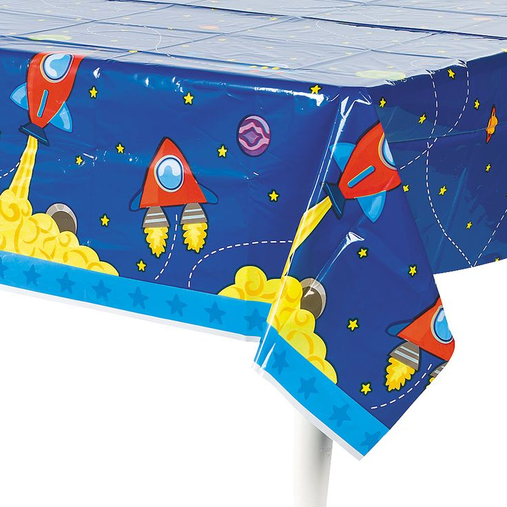 1st Birthday Rocket Party Tablecloth - OrientalTrading.com