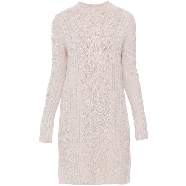 'S MaxMara Leggio Knit Sweater Dress ($645) ❤ liked on Polyvore featuring dresses, ivory, knit turtleneck, knit dress, turtle neck dress, winter white sweater dress and ivory turtleneck