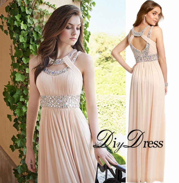 New Arrival A-line Champagne Chiffon with Beaded Waistband Prom Dresses 2015 Design Long Party Dresses APD1305