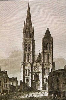 West façade of Saint Denis, before the dismantling of the north tower (c.1844-1845)