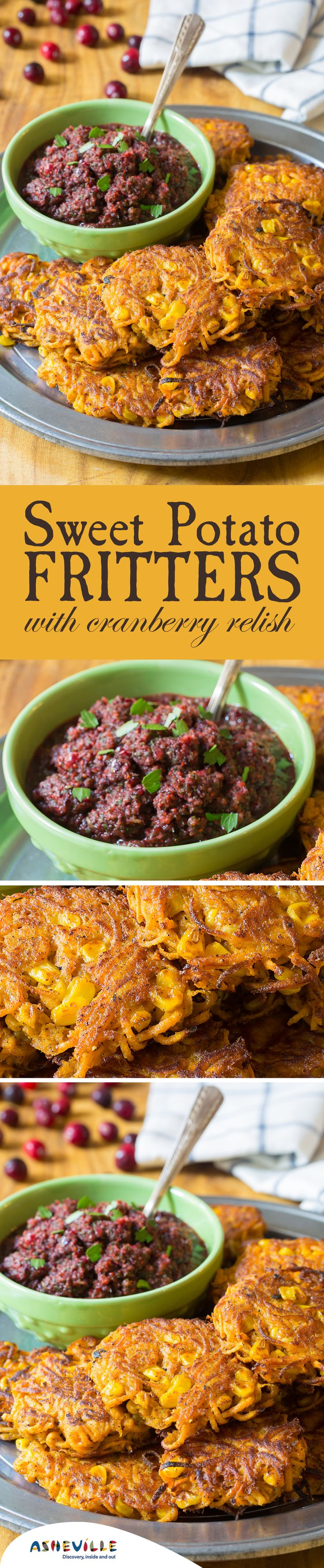 Sweet Potato Fritters with Cranberry Relish Recipe. These quick fritters have farm-fresh flavor and a bit of spice and are great finger food for your next party.
