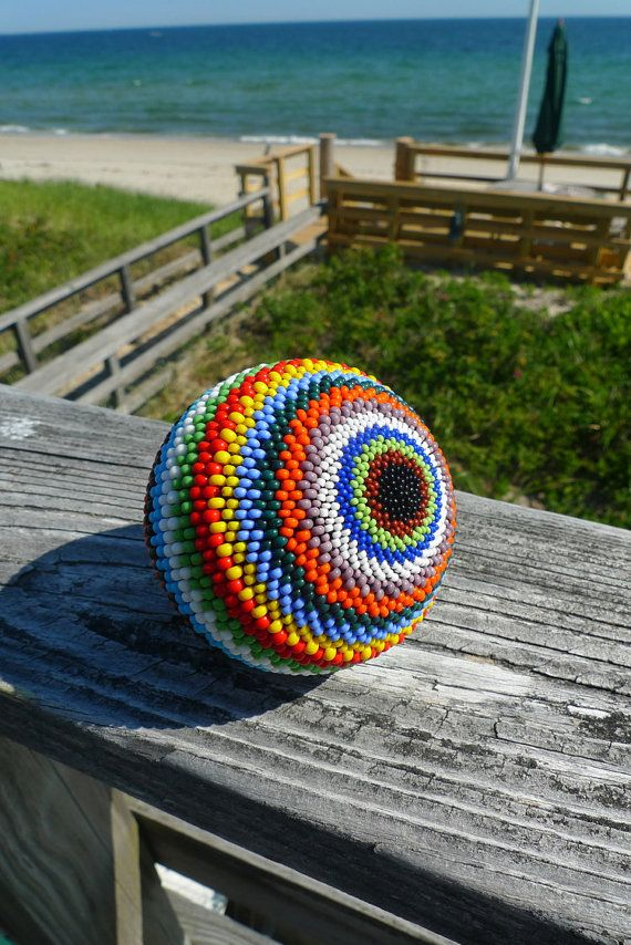 Handmade Striped Rainbow Beaded Ball Sphere 3 by TheBeadedEgg