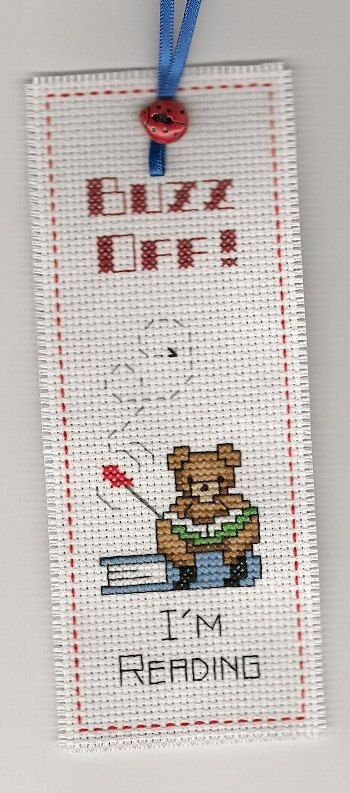Finished Completed Cross Stitch Bookmark Buzz by LoveKnotsAndMore