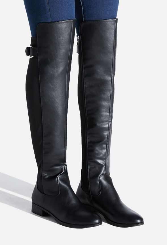 Vintage Women/'s Black Leather Over The Knee Riding Boots  size 10