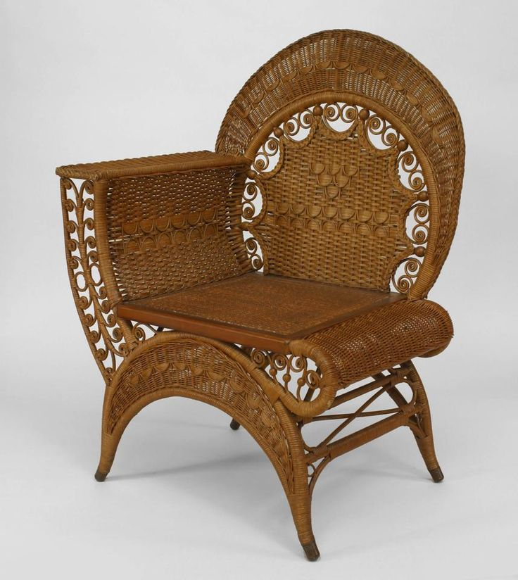 Amazing American Victorian Natural Wicker Recamier Design Photographers Chair With  Woven Back With Festoon Design And Scroll Trim (HEYWOOD WAKEFIELD Label)