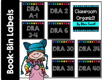 "This {Freebie} set contains labels for your DRA (Developmental Reading Assessment) book levels! A-70+Labels measure 3.5"" X 4.5""Please check back soon for more book-bin labels with the same black background and bright circle border theme!There is one label at the end that is blank!"