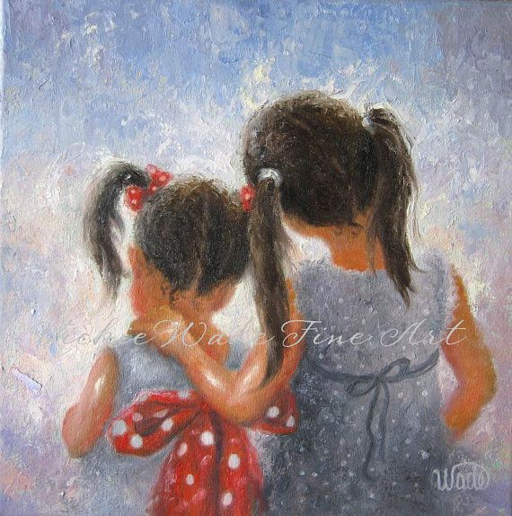 Sister Love Art Print, two sisters, two girls, loving sisters art, kids decor, kids art, childrens art, Vickie Wade art on Etsy, $34.21
