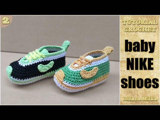 How to Crochet baby booties style Nike shoes, sneakers (2.2)