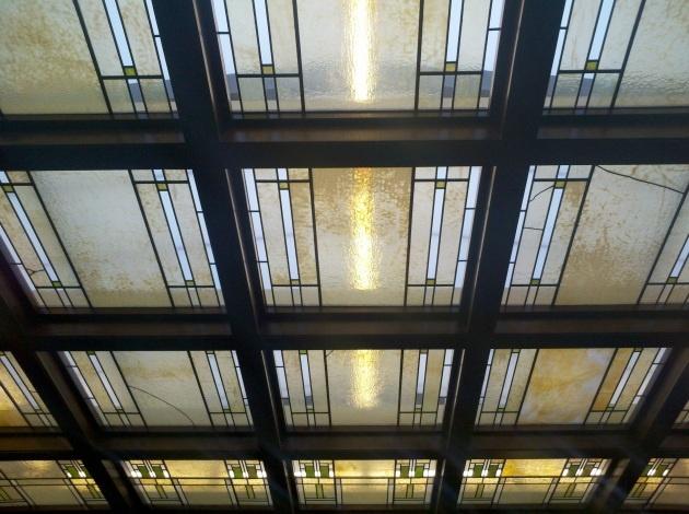 Glass skylight at Frank Lloyd Wright-designed Park Inn Hotel, in Mason City, Iowa