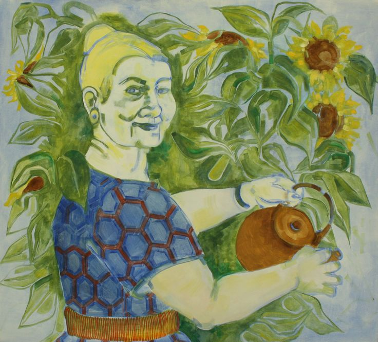 'Moja Babcia', oil paint on canvas, 130cm x 139cm by Indira Hamaker