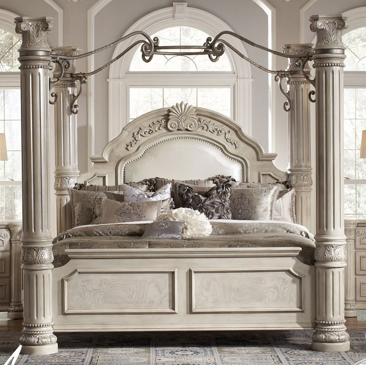 Aico Monte Carlo II - Silver Pearl Queen Canopy Bed only 1 Left