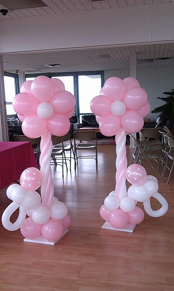 Columnas de con flor muy bellos para baby shower o fiestas for Balloon decoration for baby girl