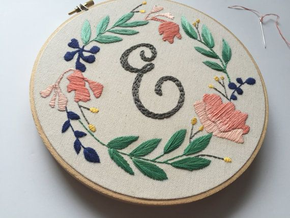 """Monogram Initial with Floral Wreath // Hand Illustration & Calligraphy  // 8"""" Embroidery Hoopart, Cream"""