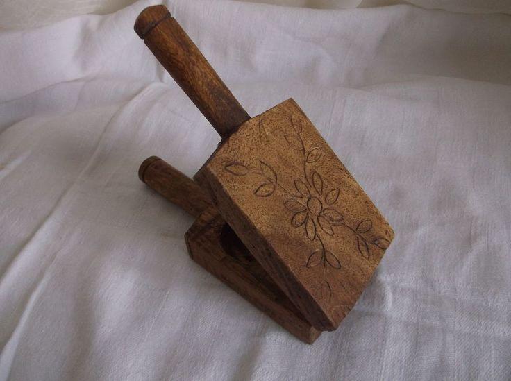 Vintage or Antique Primitive Kitchen Tool Wood Juice or Garlic Press Rustic #NaivePrimitive