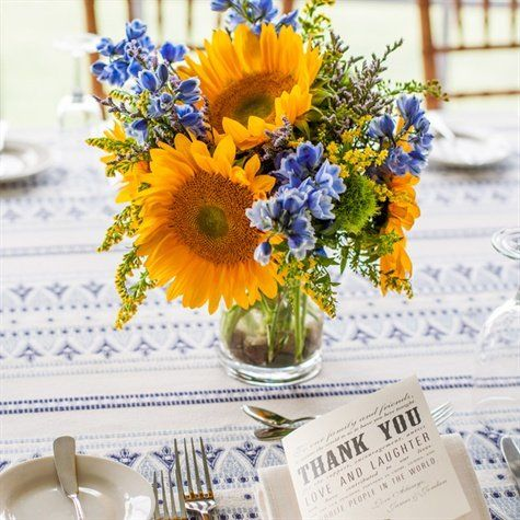 Sunflower Table Decorations | Yellow and Blue Centerpieces