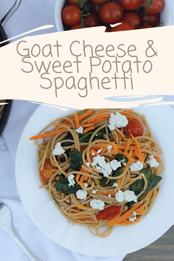 An easy way to add nutritional value to pasta is to pack those noodles full of veggies.  ⠀ Goat cheese and sweet potato spaghetti--> whole-wheat pasta with sweet potato, tomato, spinach, and plenty of fresh herbs.