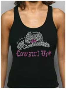 Cowgirl Up! Rhinestone Women's Fitted Tank Tops/Shirts Country Western Rodeo