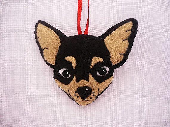 Felt dog ornament  chihuahua dog   dog ornament  by ynelcas