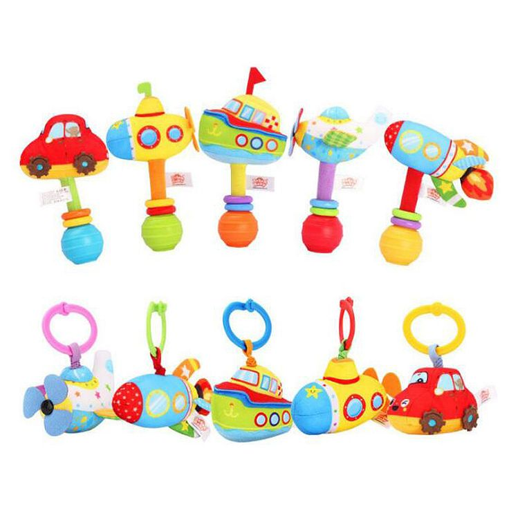 Sozzy Plush Infant Baby Handbells Rattles Handle Pull Shock Toys Car Rocket boat Plane Submarine Baby Bed Stroller Hanging