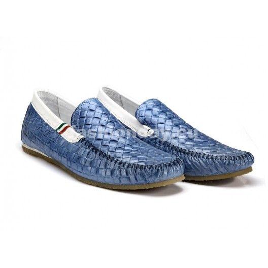 Pánske kožené preplietané mokasíny modrej farby COMODO E SANO - fashionday.eu
