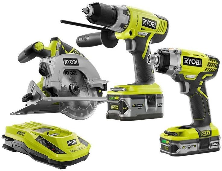 Ryobi ONE+ 18-Volt Lithium-Ion Cordless Power Tool Drill/Saw/Driver Kit (3-Tool) #RYOBITechtronicIndustriesCoLtd