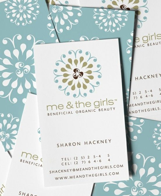baby blue and white business card