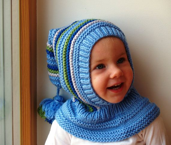 Blue elf hat. Knit Balaclava for Baby,Toddler,Boy Hoodie Hat with Pom Pom Tail. Sizes from age of 6 months to 10 years