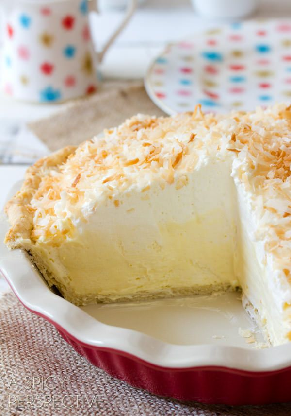 Coconut Cream Pie Recipe with coconut pudding mix and canned coconut milk | ASpicyPerspective.com #pie #recipe #coconut