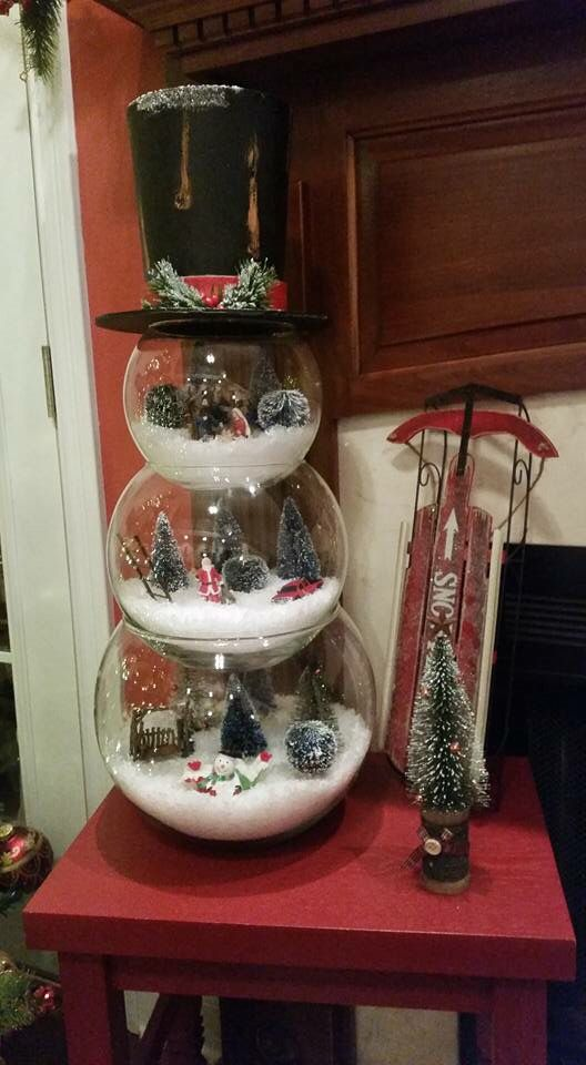 Snowman snow globes---- this would be easy to make