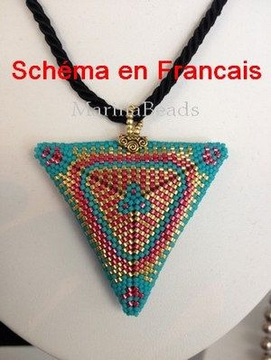SCHEMA  Pendentif Triangle a 2 faces en FRANCAIS by MarinaBeads06
