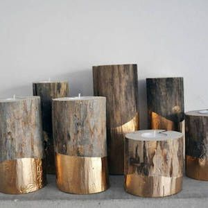 Gold-Dipped Log Candle Holders