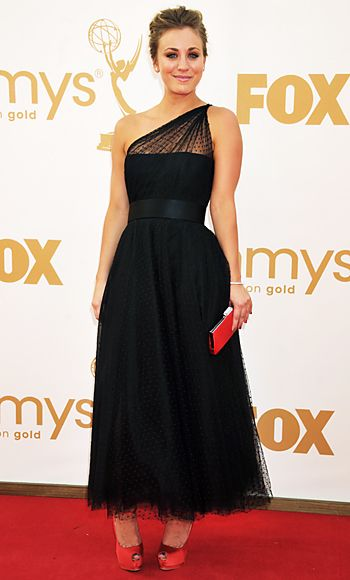 Kaley Couco in Point d'Esprit Romona Keveza at 2011 Emmys