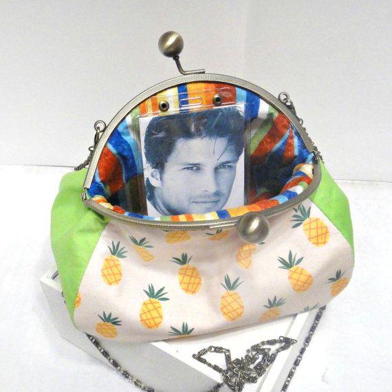 Clutch handbag Photo purse Pineapple от LeatherBagsBackpacks