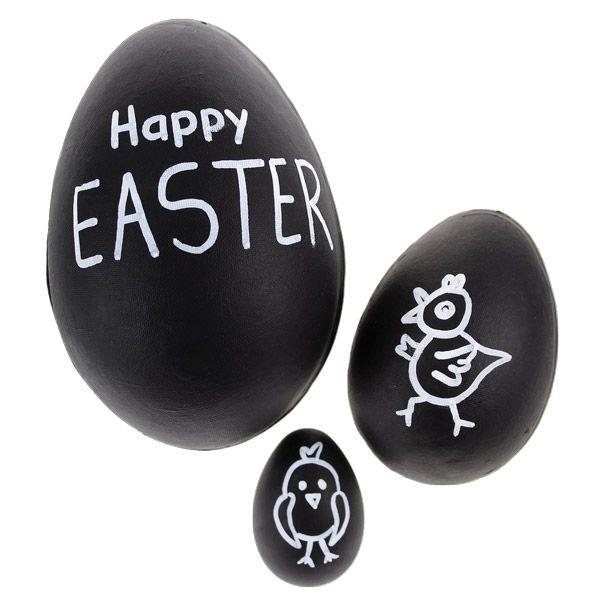 Liitutaulumaalilla ja illumigraph-tussilla koristellut pääsiäismunat. Tarvikkeet ja ideat Sinellistä!