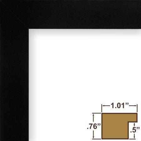 Craig Frames Bauhaus 100, Mystic Satin Black Picture Frame, 8.5x11 Inch