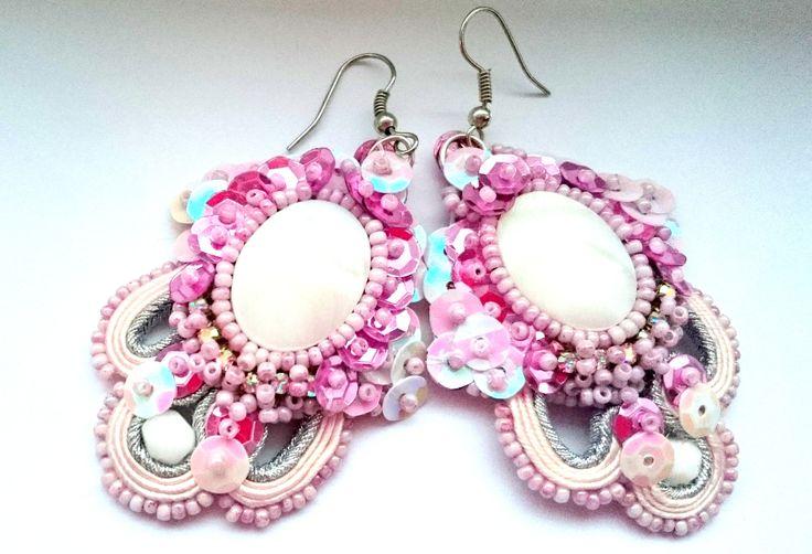 """Eaarings soutache, sequins, handmade Facebook: """"Soutache, beads, Shibori Cristallin, sutasz i koraliki"""""""