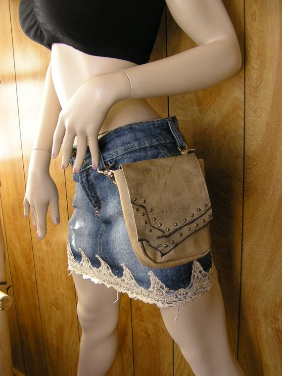 """Tan leather belt bag, clip on with trigger clips, layered leather flap, loop for belt, gunmetal studs & ball button 6"""" x 4 3/4"""" x 2"""""""