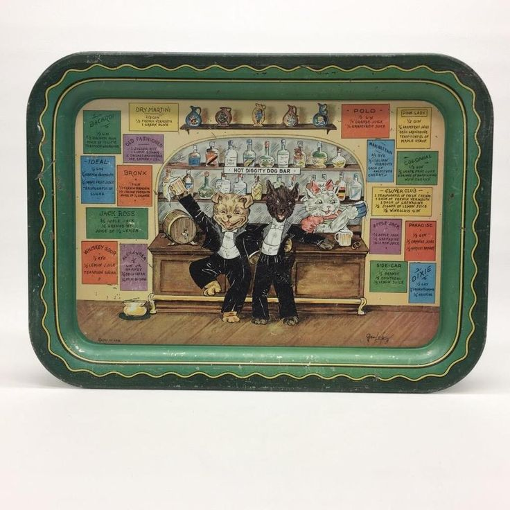 Grace Lopez 1933 Hot Diggity Dog Bar Beer Mixed Drink Lithograph Serving Tray  | eBay