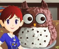 Cooking Games for Girls - Sara is introducing a new special cake for kids birthday. she will teach it to you if you want to learn it, if your answer is yes then follow her to her kitchen and make one owl cake for your birthday yourself.