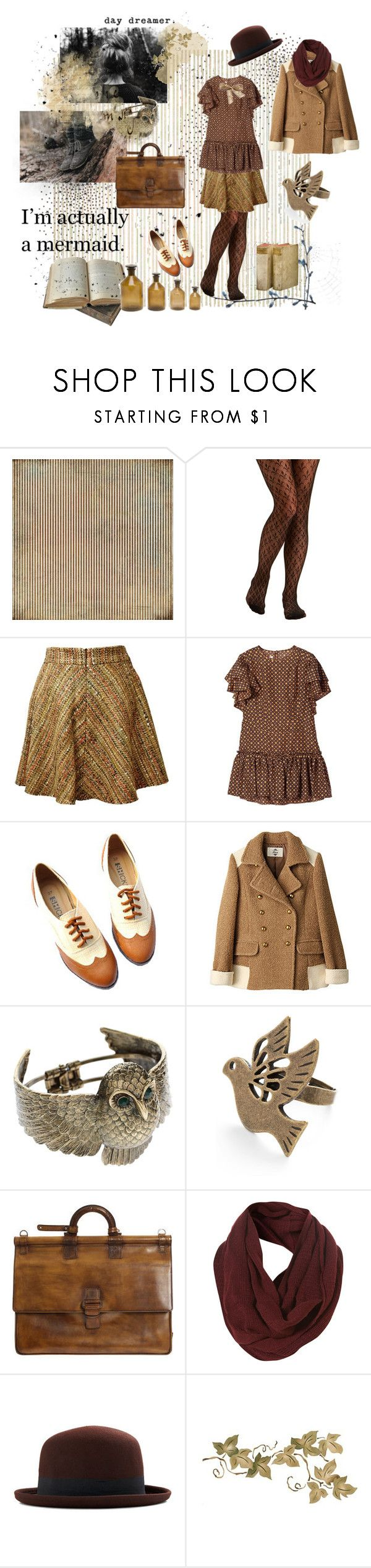 """dreaming of beeing a mermaid"" by whitekirin ❤ liked on Polyvore featuring BasicGrey, Marni, ASOS, Berluti, Topman, Champion, Bocage, LIST, J. Peterman and vintage shabby chic skirt brown oxfords great britain daydreamer books reading school bag study univ"
