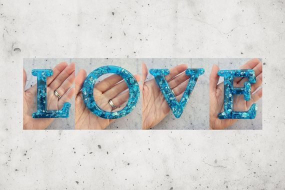 Word LOVE in all Capitals Beautiful Resin Letters by WordosaurusText