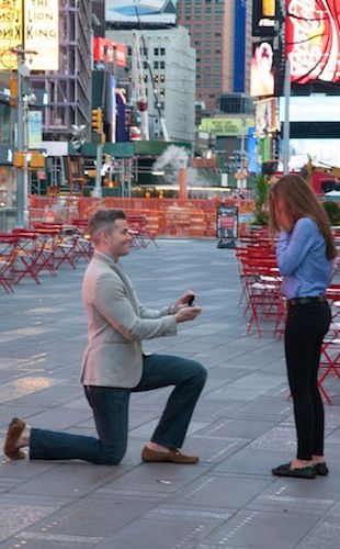 """YES!"": 'Million Dollar Listing' Star Ryan Serhant Shuts Down Times Square for the Most Romantic Proposal of the Century 