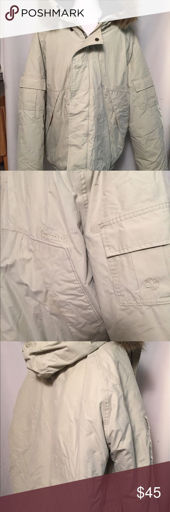 Timberland Men's Jacket, Size large Men's Timberland jacket. Size large. Cotton and polyester shell. Polyester fill. Machine washable. Fur trim on hood zips off and on. This jacket is in good condition with no rips, tears stains or holes. 😀 Timberland Jackets & Coats