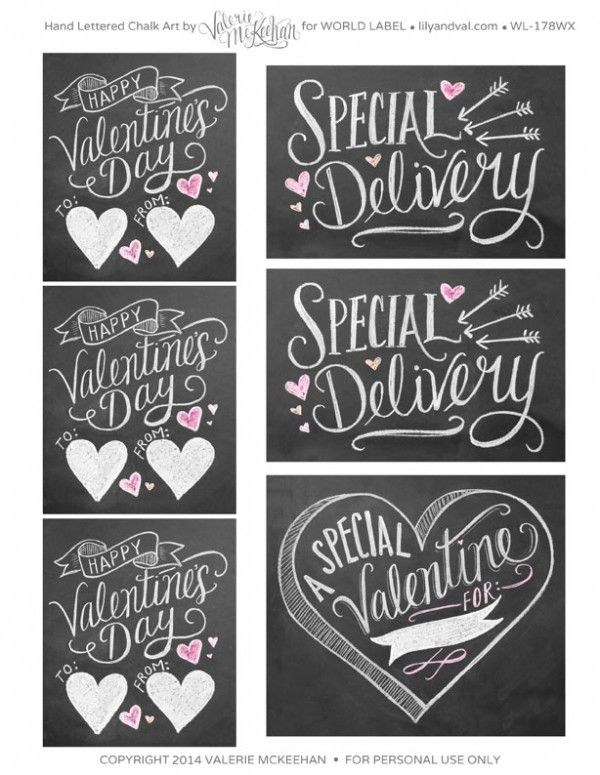 Hand Lettered Chalk Art Valentines day labels by @Valerie (Henderson) McKeehan