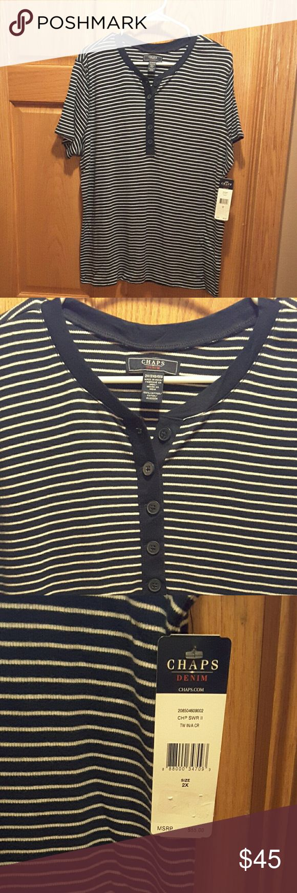 NWT top Navy with white stripe short sleeve top Chaps Tops Tees - Short Sleeve
