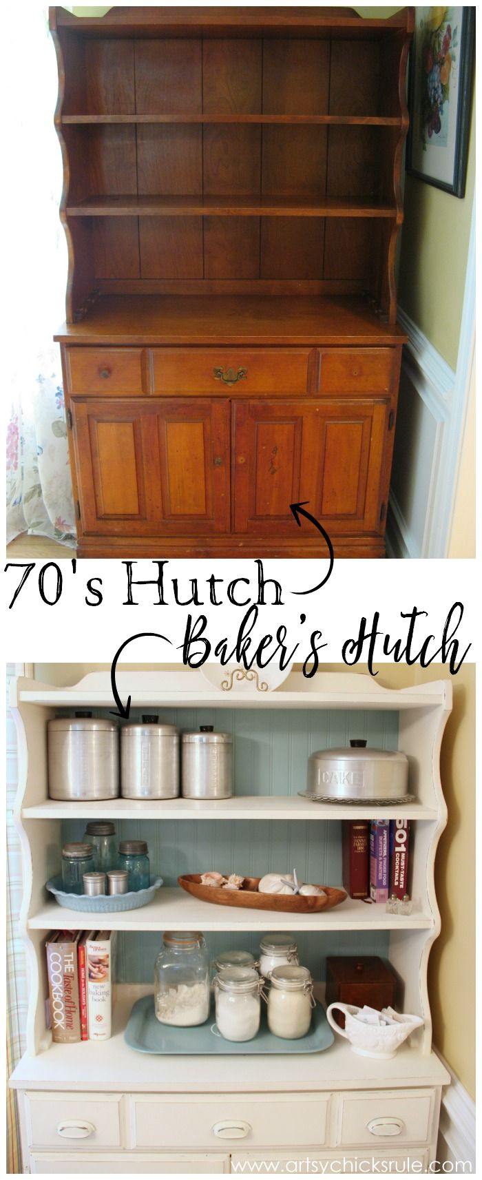 1970s Hutch To Bakers Annie Sloan Chalk Paint Refurbished