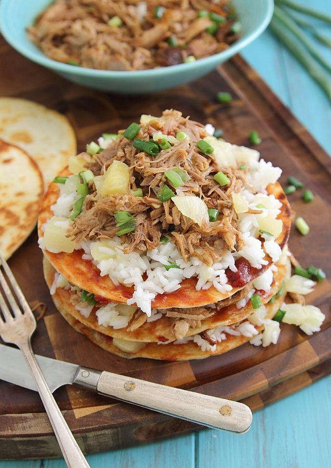 Hawaiian Pulled Pork Recipe: Hawaiian Pulled Pork BBQ Enchilada Stacks. #slowcooker