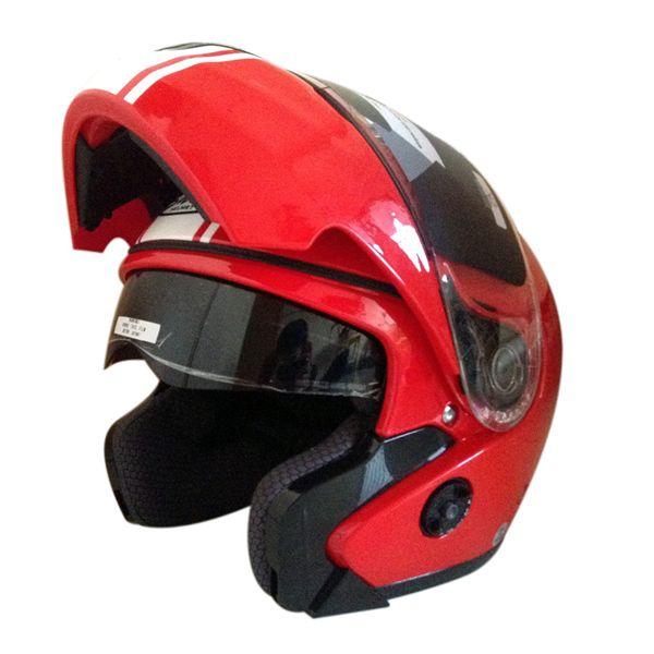 Snail Helm Modular Double Visor FF851 - Merah List Putih Helm ini memiliki  fungsi ganda 4ac1138fba